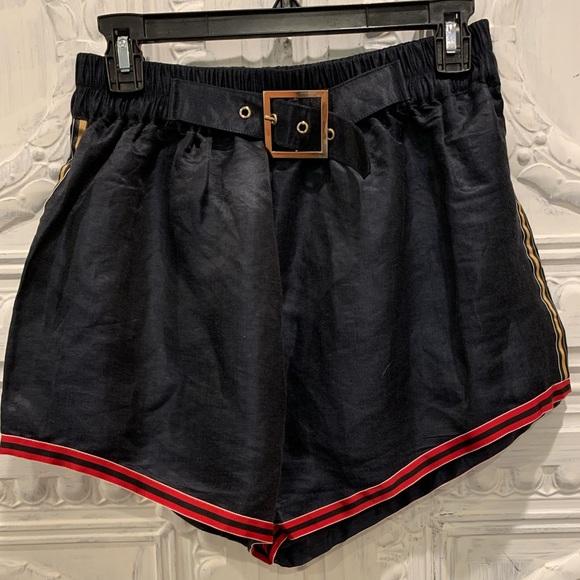 Cynthia Rowley Womens Linen Belted Shorts Navy Blue Size Medium